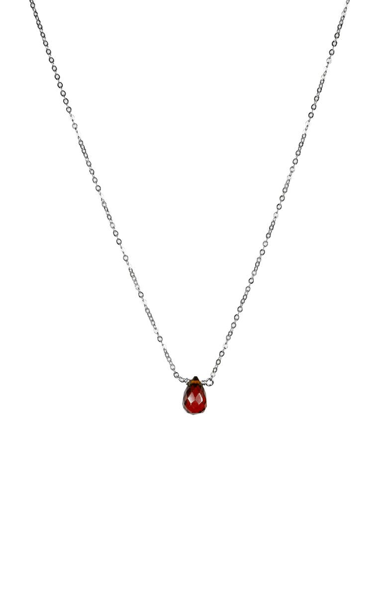 NASHELLE January Synthetic Birthstone Choker Necklace, Main, color, SILVER