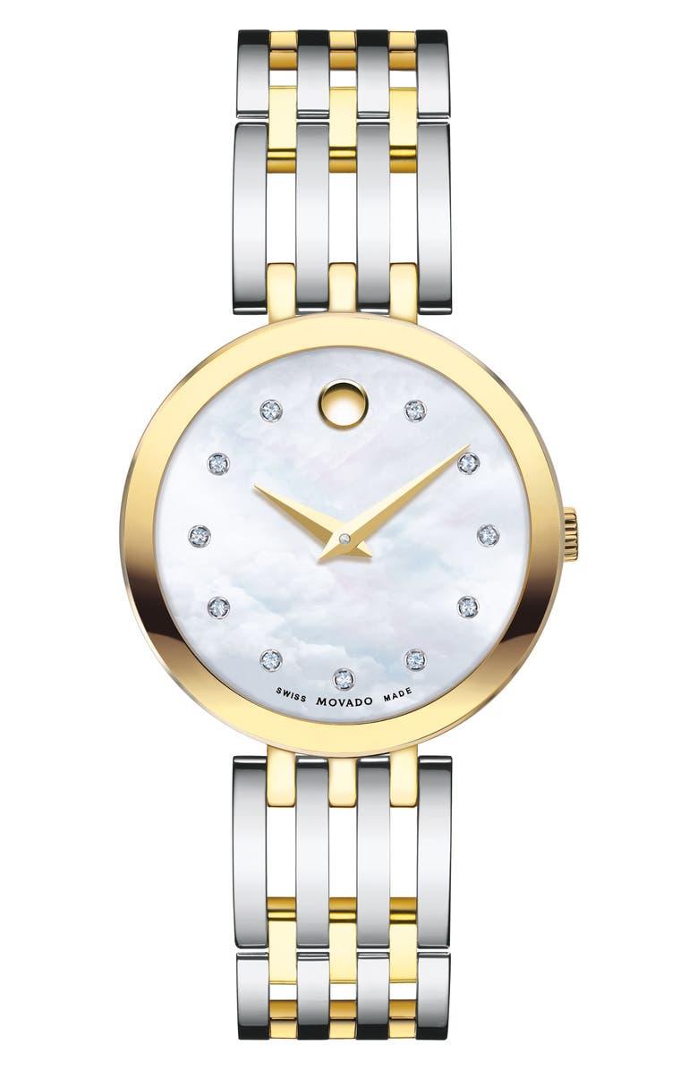 MOVADO Esperanza Diamond Bracelet Watch, 28mm, Main, color, SILVER/ WHITE MOP/ GOLD
