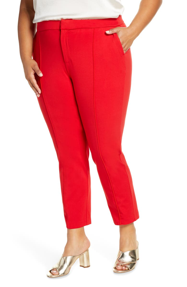 ELOQUII Stretch Knit Ankle Pants, Main, color, GOJI BERRY