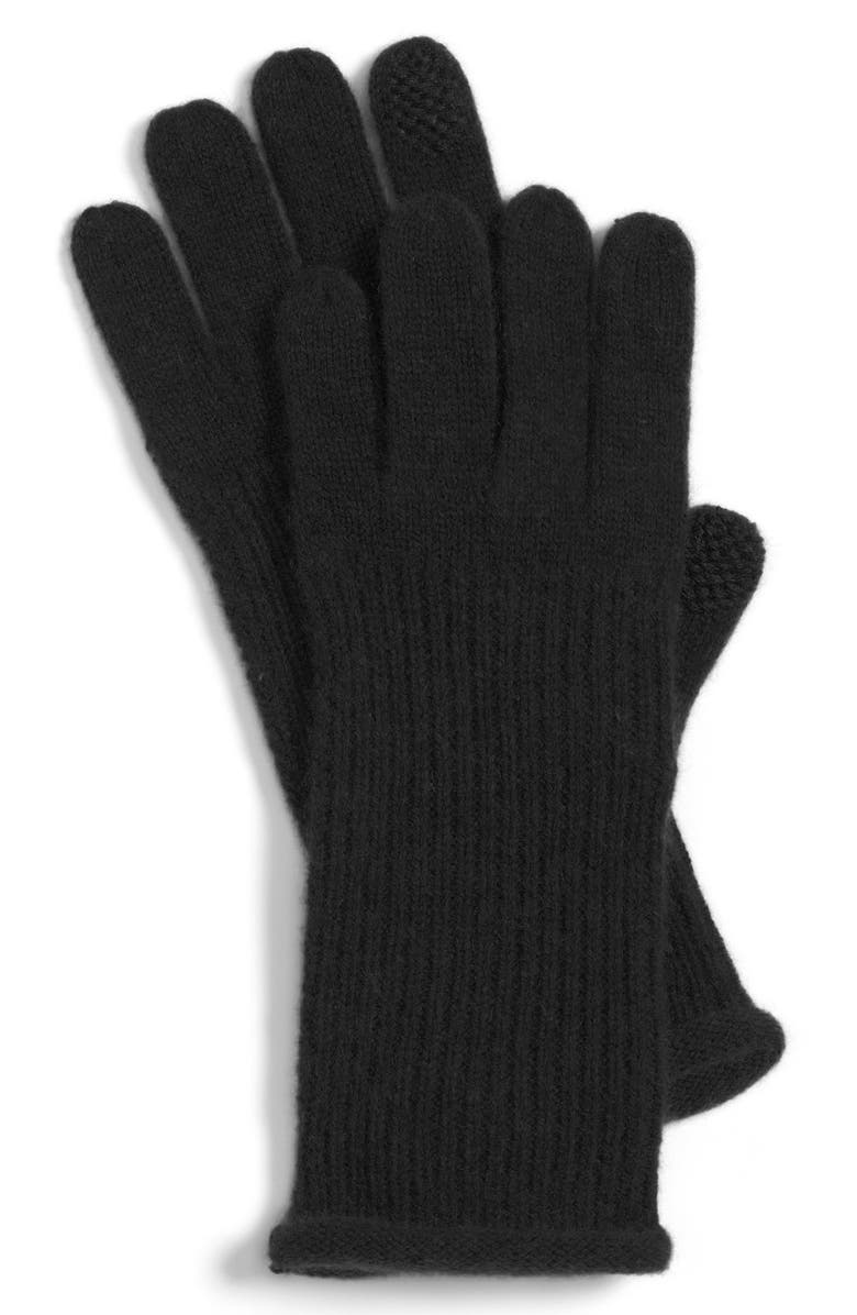 NORDSTROM Halogen<sup>®</sup> 'Touch Tech' Cashmere Gloves, Main, color, 001