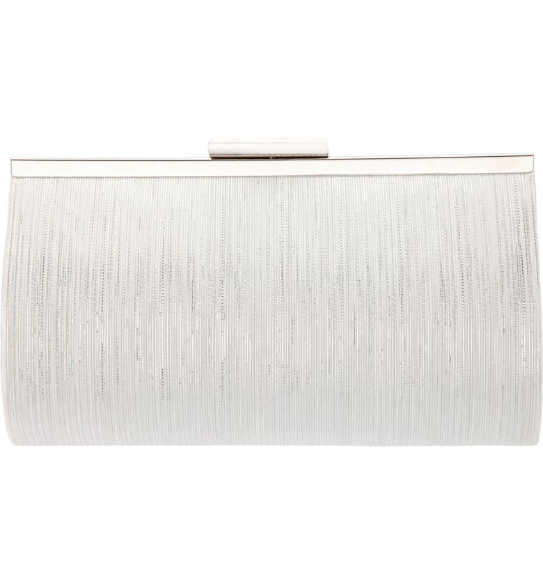 NINA Metallic Pattern Frame Clutch, Main, color, SILVER