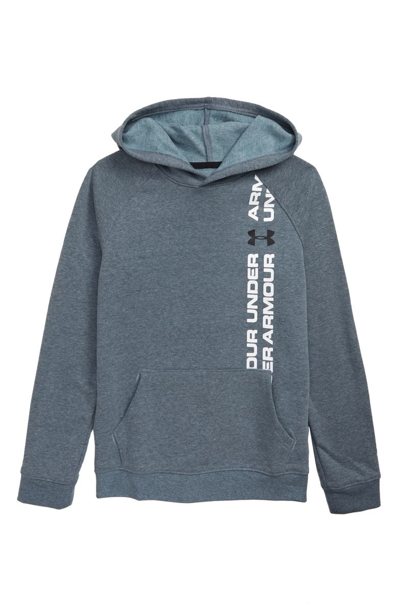 UNDER ARMOUR Rival Wordmark Pullover Hoodie, Main, color, 073