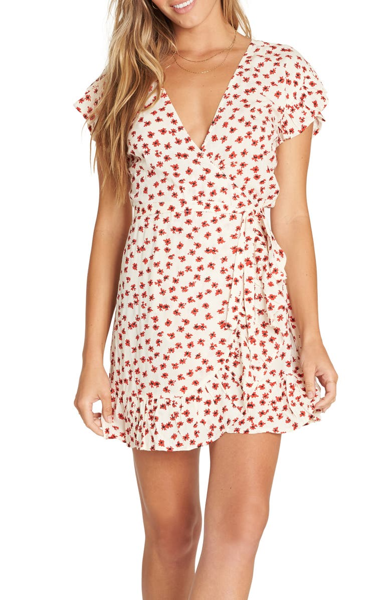 BILLABONG Wrap and Roll Minidress, Main, color, WHITE CAP