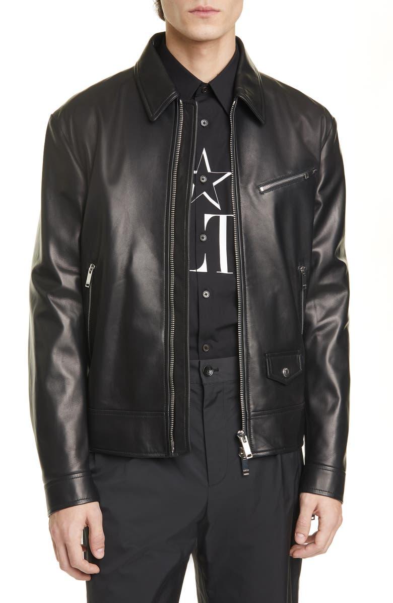 VALENTINO Leather Jacket, Main, color, BLACK/ BLACK