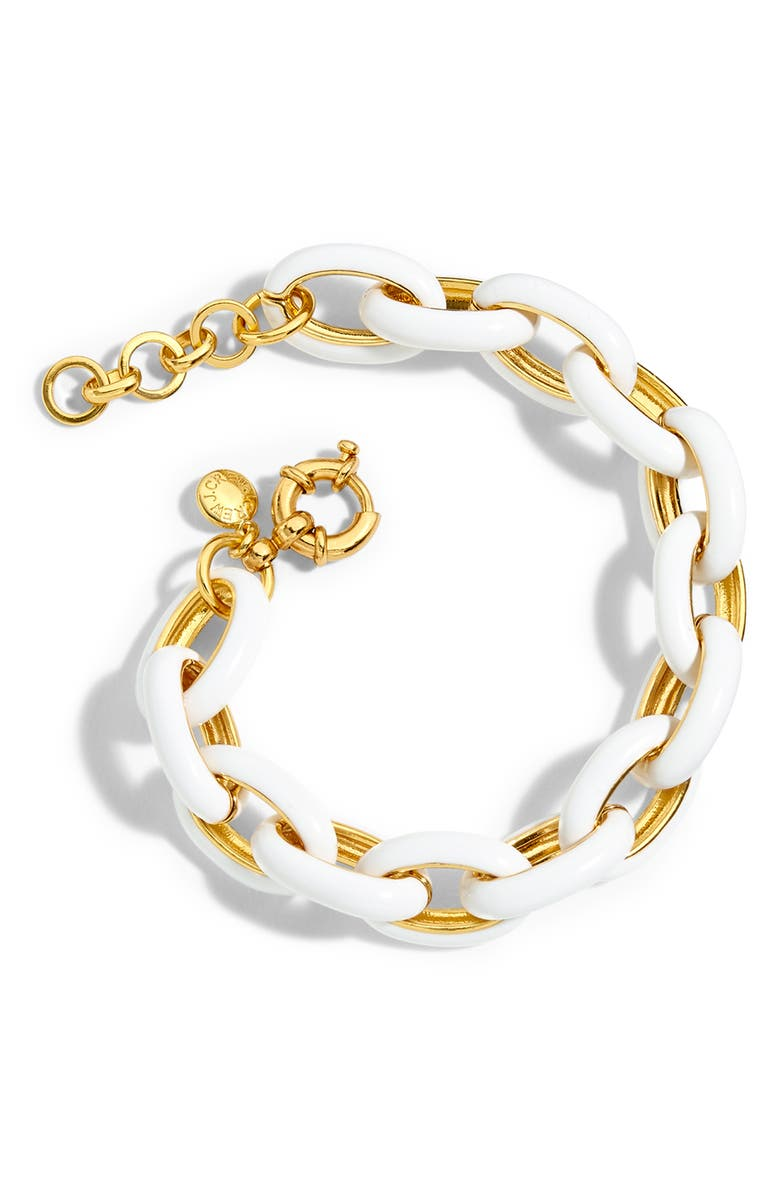 J.CREW Enamel Oval Chain Link Bracelet, Main, color, 100