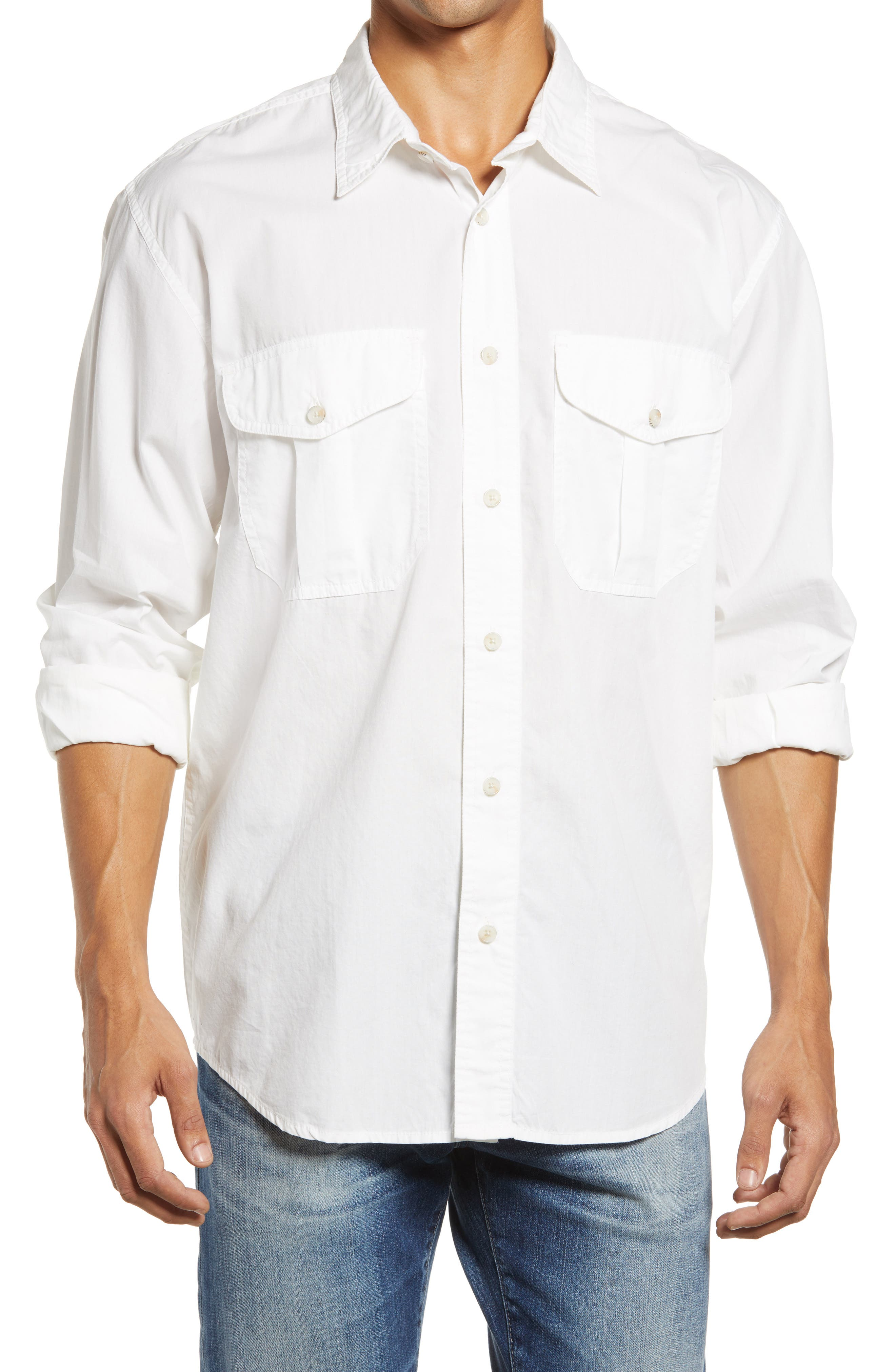 Washed Feather Cloth Long Sleeve Button-Up Shirt