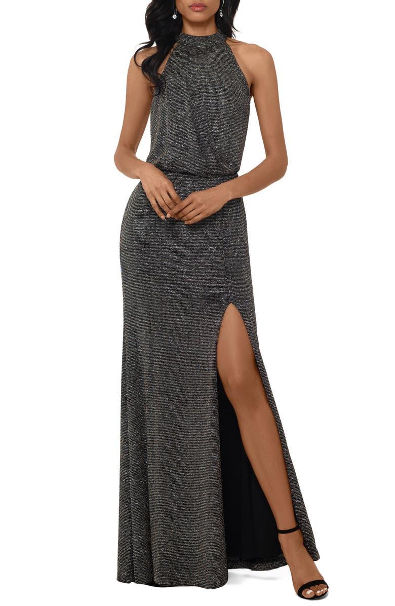XSCAPE Halter Neck Metallic Knit Evening Gown, Main, color, BLACK/ SILVER/ GOLD