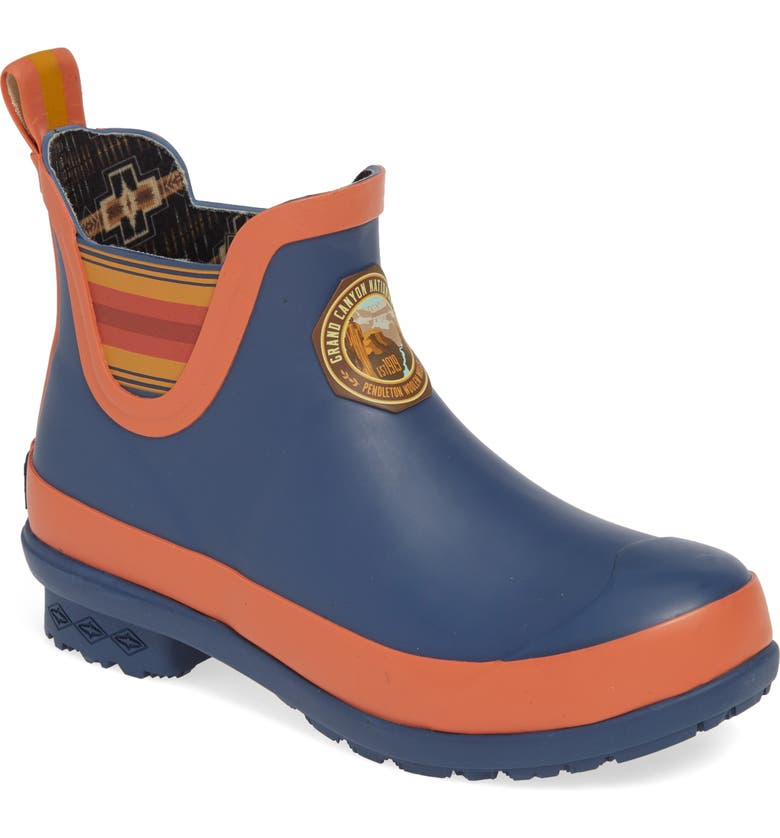PENDLETON Grand Canyon National Park Waterproof Chelsea Rain Boot, Main, color, NAVY RUBBER