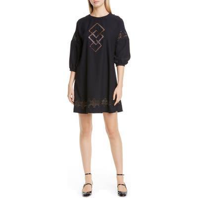 Red Valentino Geo Stitch Shift Dress, US / 46 IT - Black
