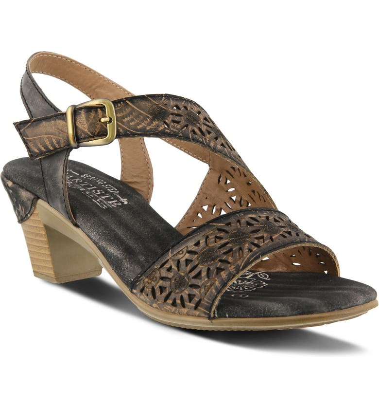 L'ARTISTE Noreen Sandal, Main, color, GREY LEATHER