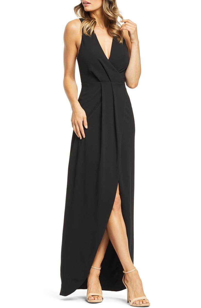 DRESS THE POPULATION Ariel Racerback Faux Wrap Crepe Gown, Main, color, 001