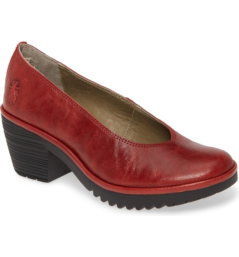 FLY LONDON Walo Pump, Main, color, RED LEATHER
