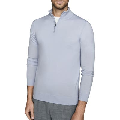 Reiss Blackhall Wool Quarter Zip Pullover, Blue