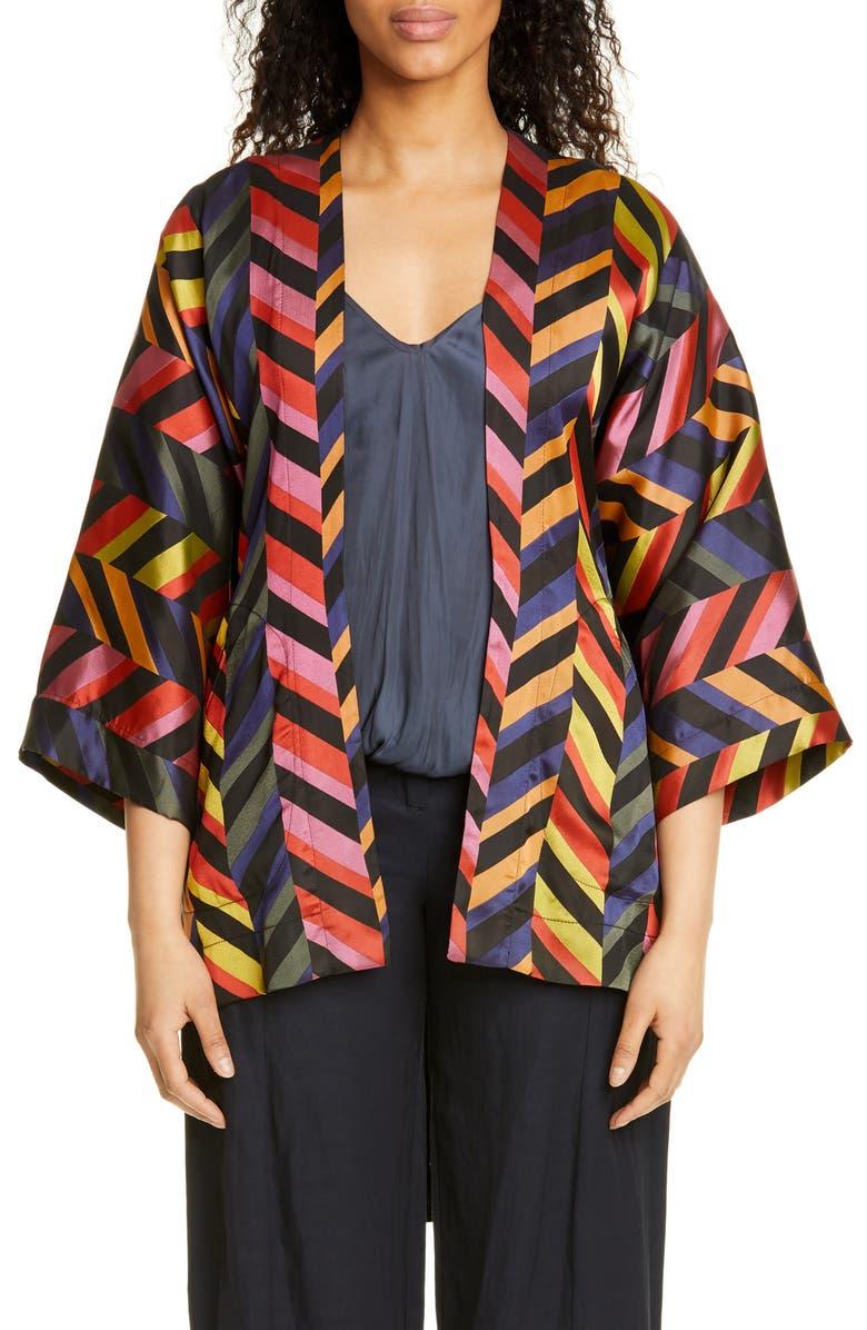 ZERO + MARIA CORNEJO Oki Chevron Jacquard Wrap Jacket, Main, color, BLACK MULTI