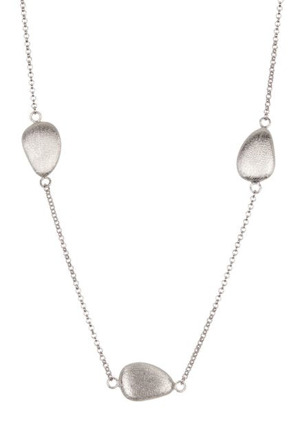Image of Rivka Friedman White Rhodium Satin Pebble Link Necklace