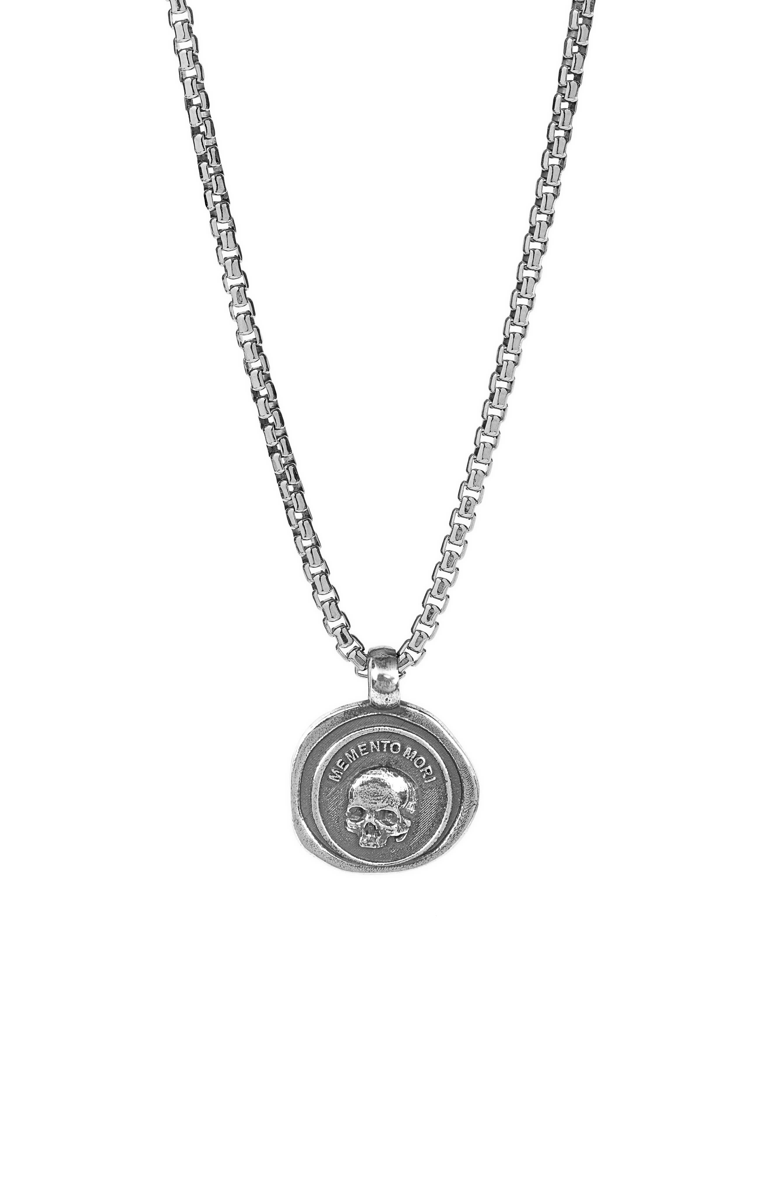 Men's Sterling Silver Memento Mori Medallion Necklace