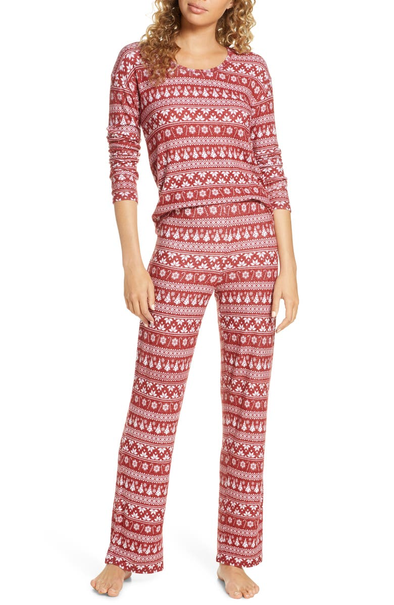 BP. Girlfriend Pajamas, Main, color, RED ROSEWOOD DITSY FAIRISLE
