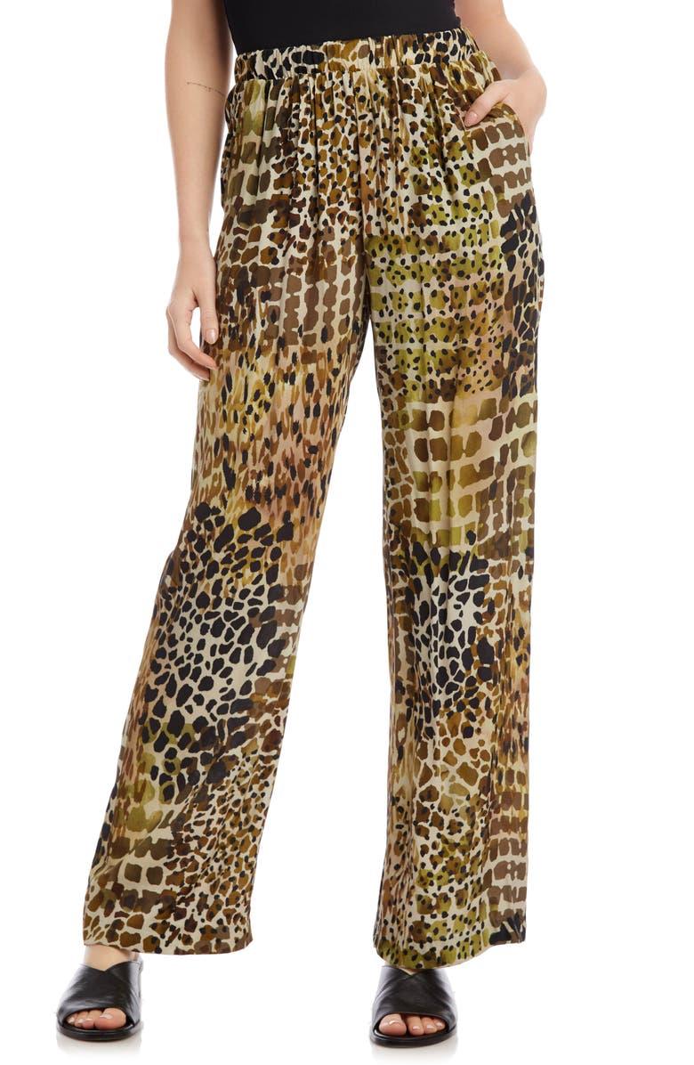 KAREN KANE Tropical Print Wide Leg Crepe Pants, Main, color, 300