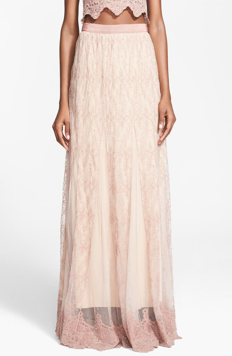 ALICE + OLIVIA 'Louie' Embroidered Maxi Skirt, Main, color, 650