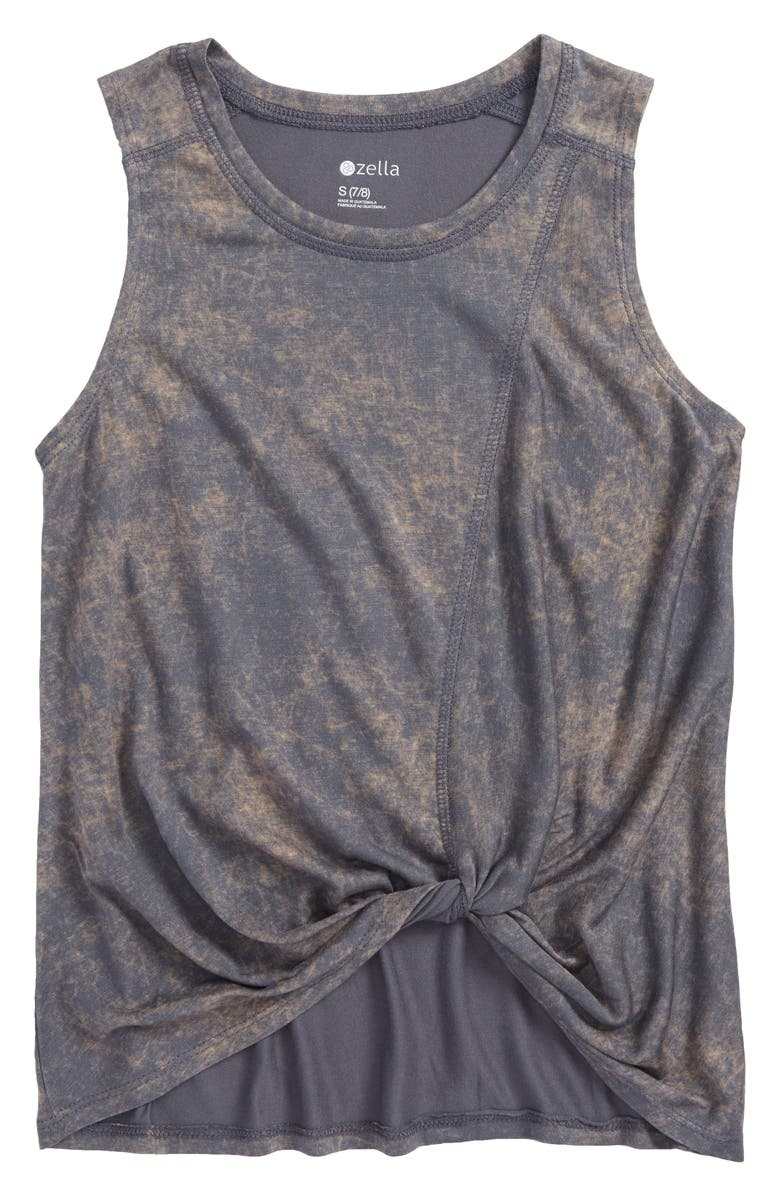 ZELLA GIRL Knotted Tank, Main, color, GREY GRAPHITE WASH