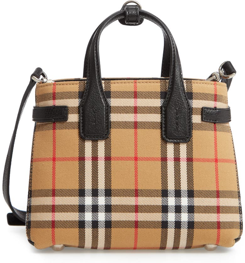 BURBERRY Baby Banner Vintage Check Tote, Main, color, BLACK