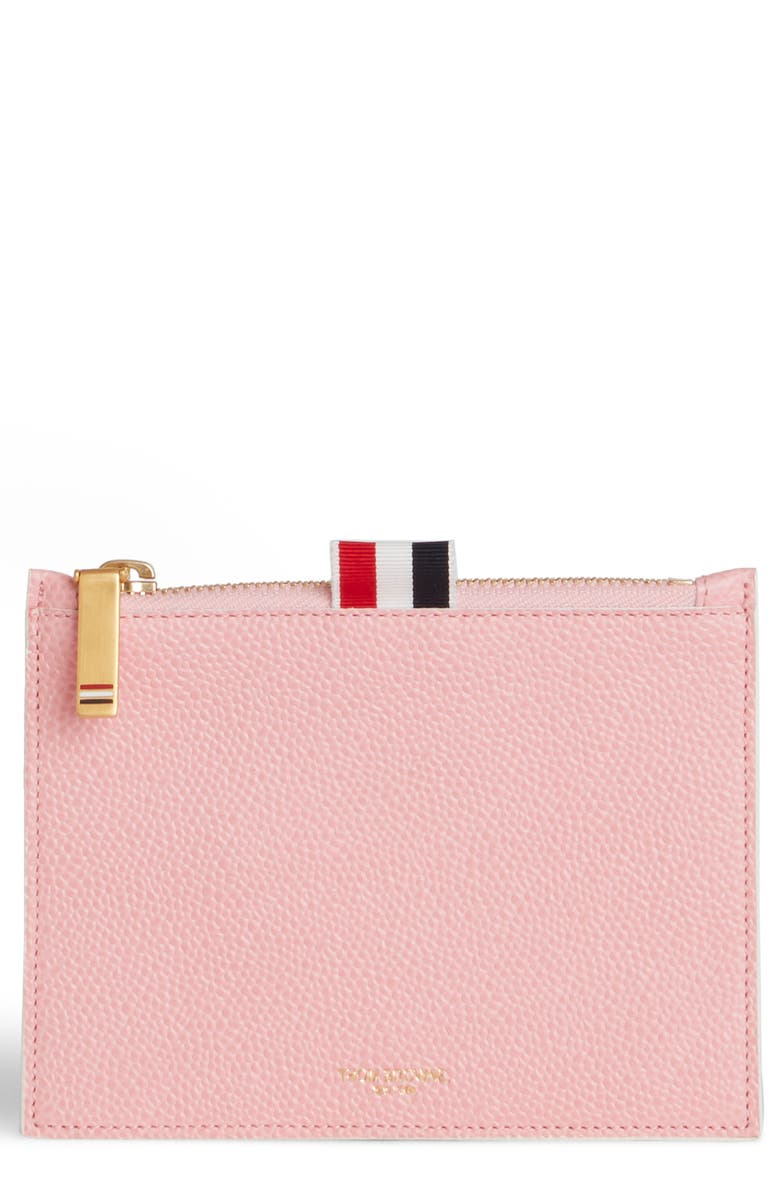 THOM BROWNE Small Leather Coin Purse, Main, color, LIGHT PINK