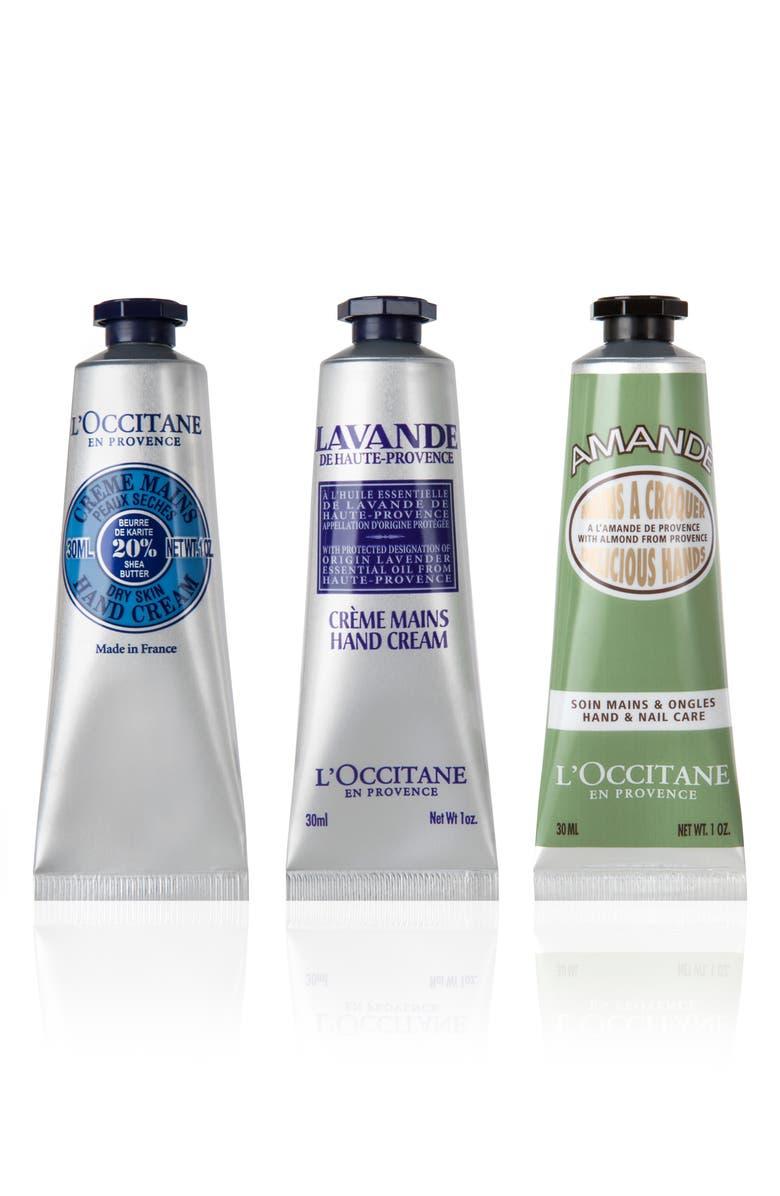 L'OCCITANE Hand Cream Trio, Main, color, NO COLOR