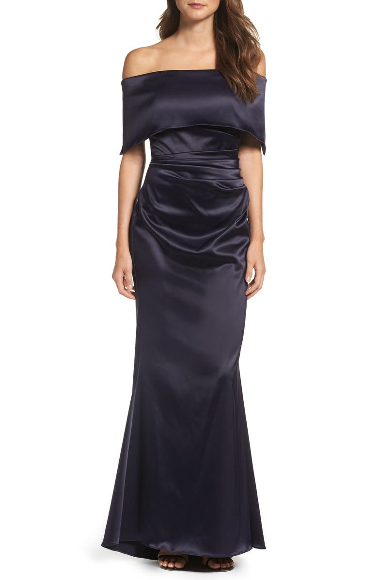 VINCE CAMUTO Off the Shoulder Gown, Main, color, NAVY