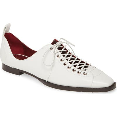 Sies Marjan Terra Lace-Up Square Toe Loafer - White