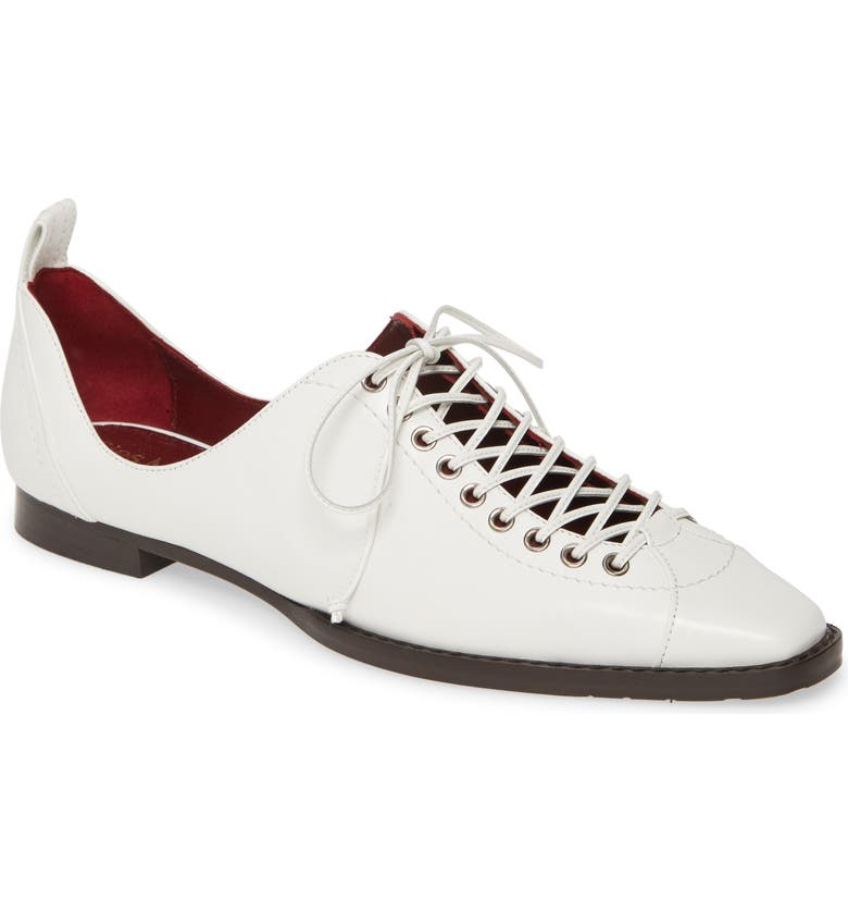 SIES MARJAN Terra Lace-Up Square Toe Loafer, Main, color, WHITE