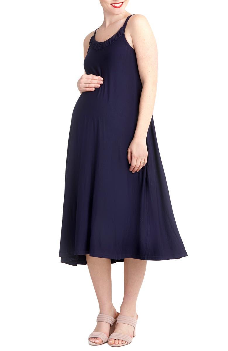 NOM MATERNITY Andrea Maternity Midi Dress, Main, color, NAVY
