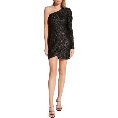 Bardot Abigail One-Shoulder Sequin Cocktail Dress, Black