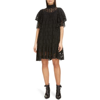 Isabel Marant Etoile Floral Lace Ruffle Shift Dress, Black
