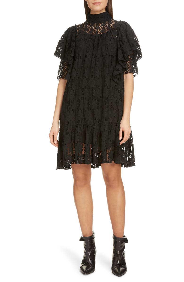 ISABEL MARANT ÉTOILE Floral Lace Ruffle Shift Dress, Main, color, 001