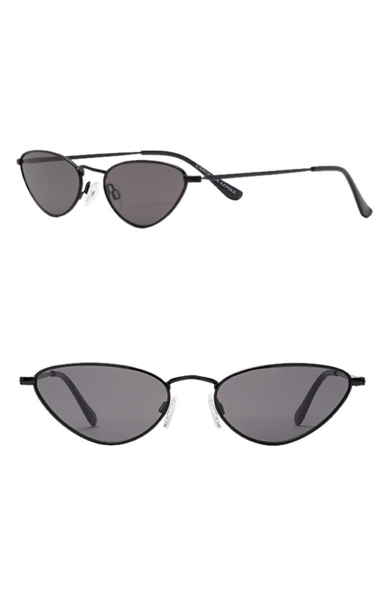 CAROLINA LEMKE Ambra 53mm Irregular Oval Sunglasses, Main, color, BLACK/ SMOKE