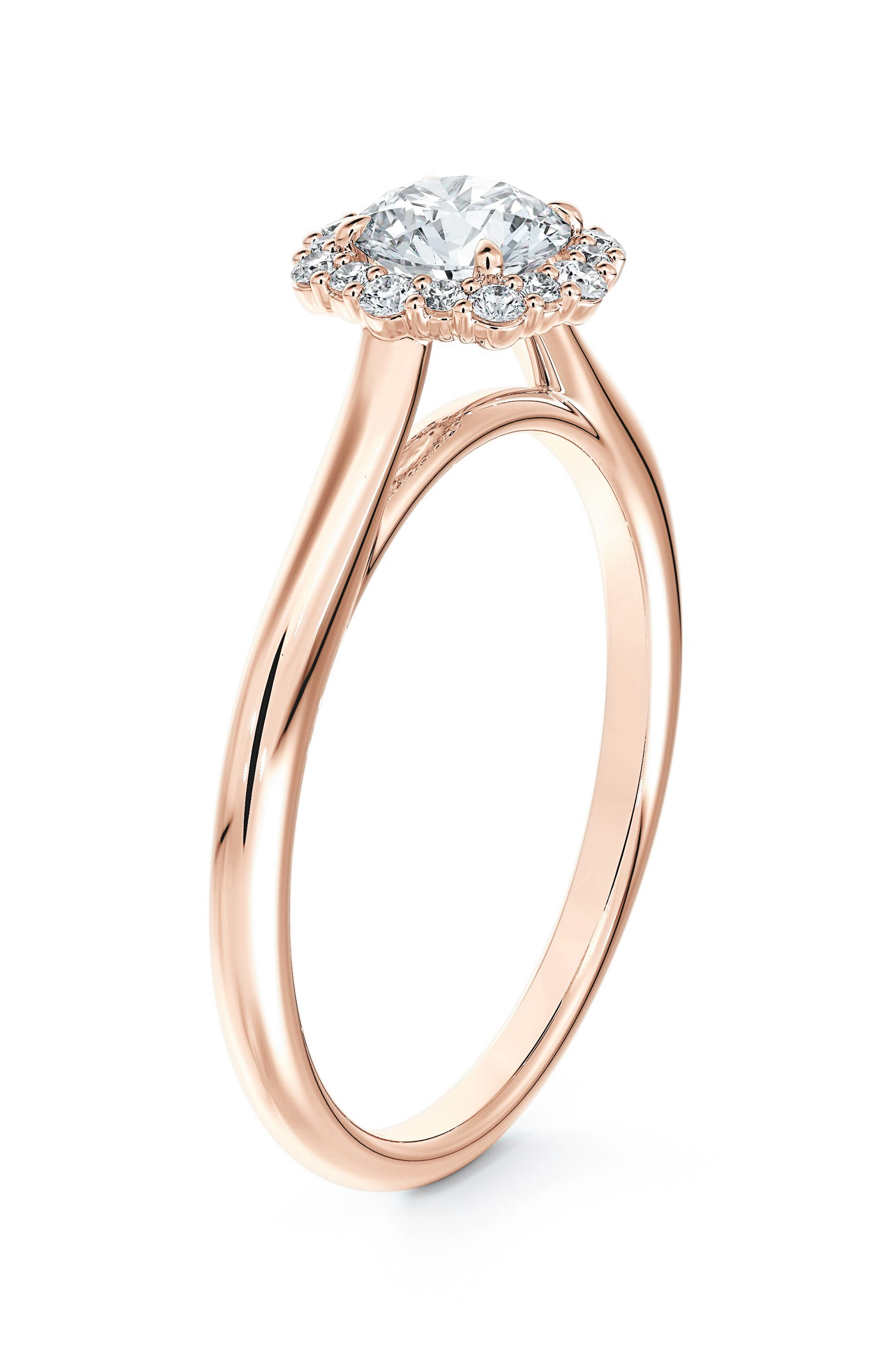 Center Of My Universe Floral Halo Diamond Engagement Ring