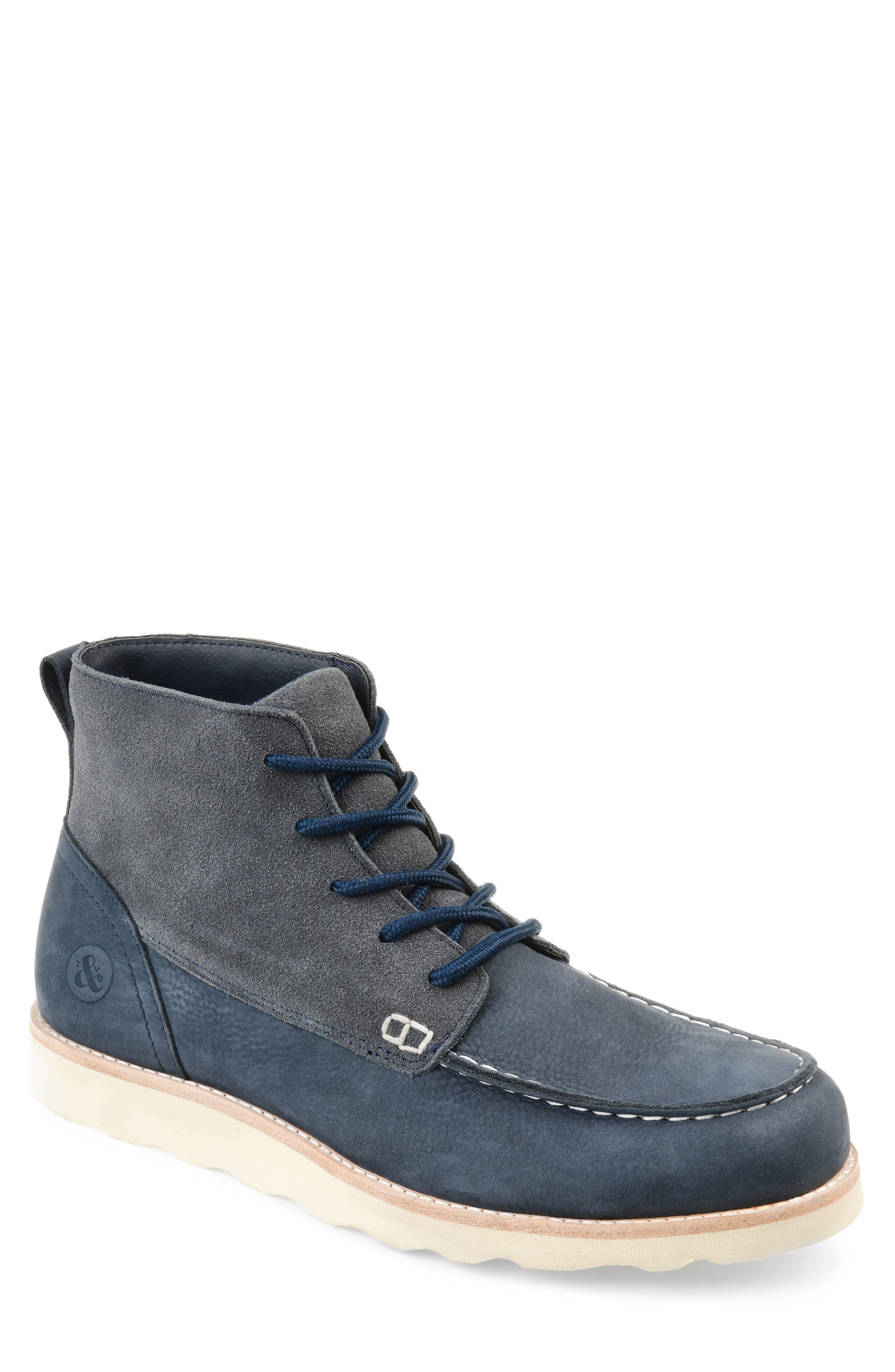 A fusion of suede and leather defines a ruggedly handsome boot set on a smart, lightweight contrast sole. Style Name: Thomas & Vine Spartan Moc Toe Boot (Men). Style Number: 5715645 1. Available in stores.