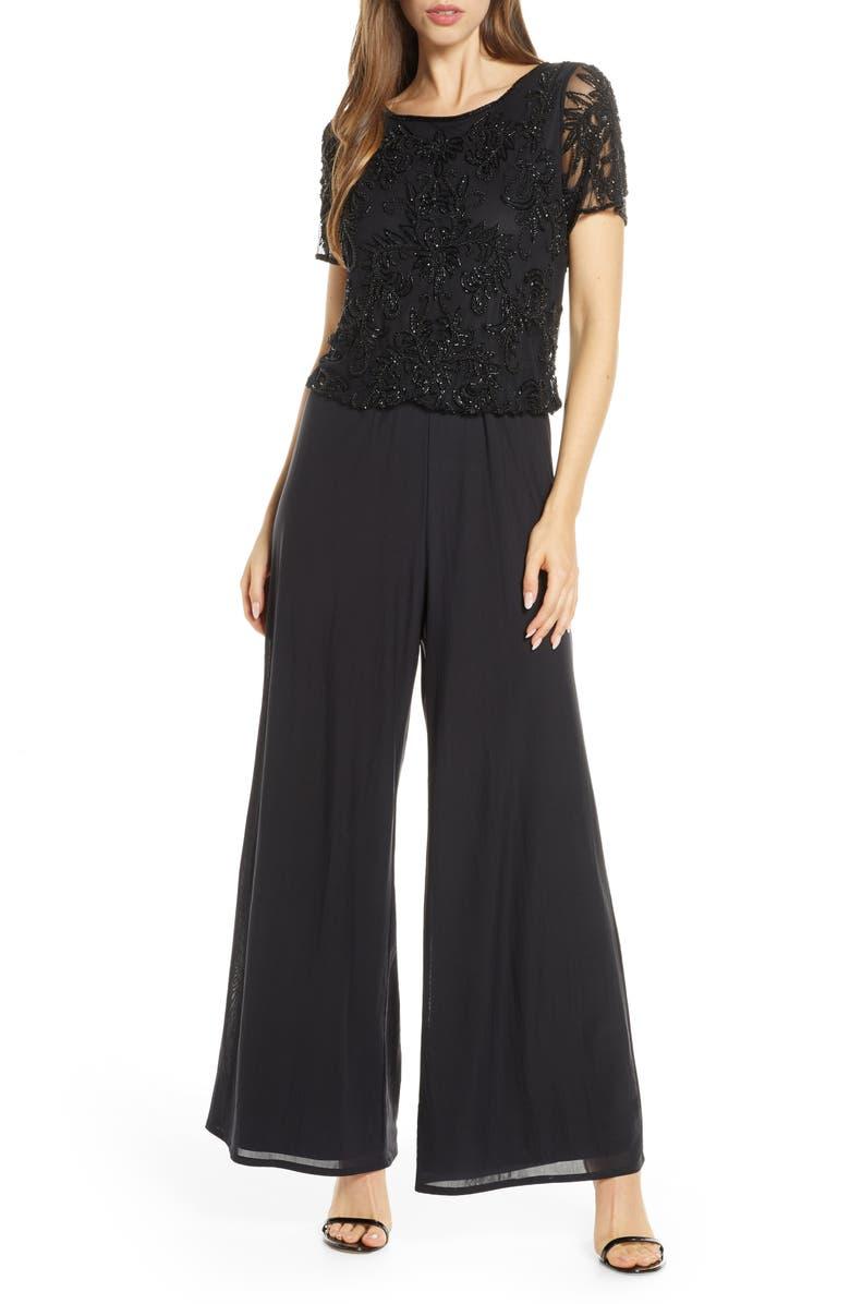 PISARRO NIGHTS Beaded Blouson Jumpsuit, Main, color, BLACK
