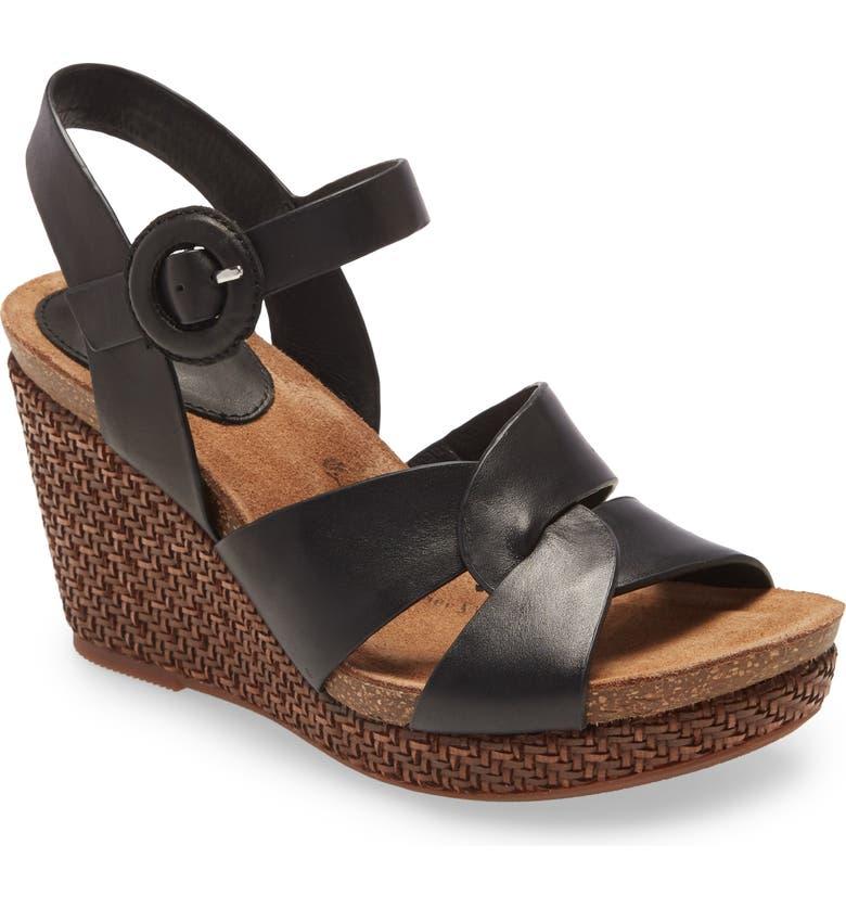 SÖFFT Casidy Wedge Sandal, Main, color, BLACK LEATHER