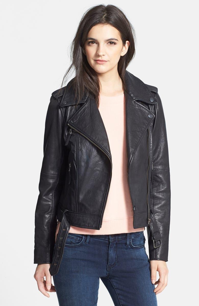 TREASURE & BOND Treasure&Bond Leather Jacket, Main, color, 001