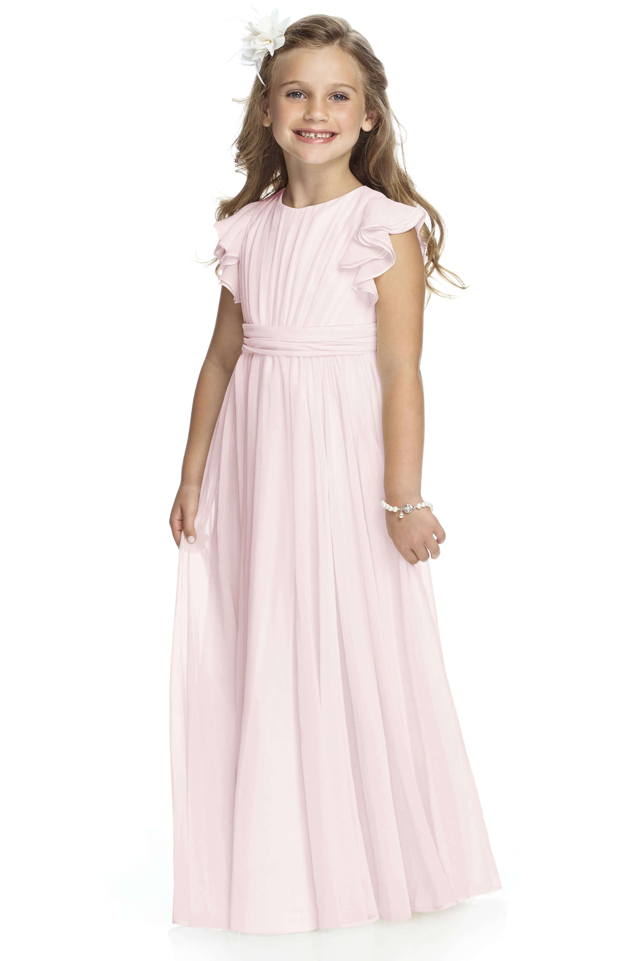This sweet chiffon flower-girl dress features a shirred bodice framed by dainty flutter sleeves and a sash-wrapped waist above the shirred full-length skirt. Style Name: Dessy Collection Long Chiffon Flower Girl Dress (Toddler Girl, Little Girl & Big Girl). Style Number: 5819803. Available in stores.