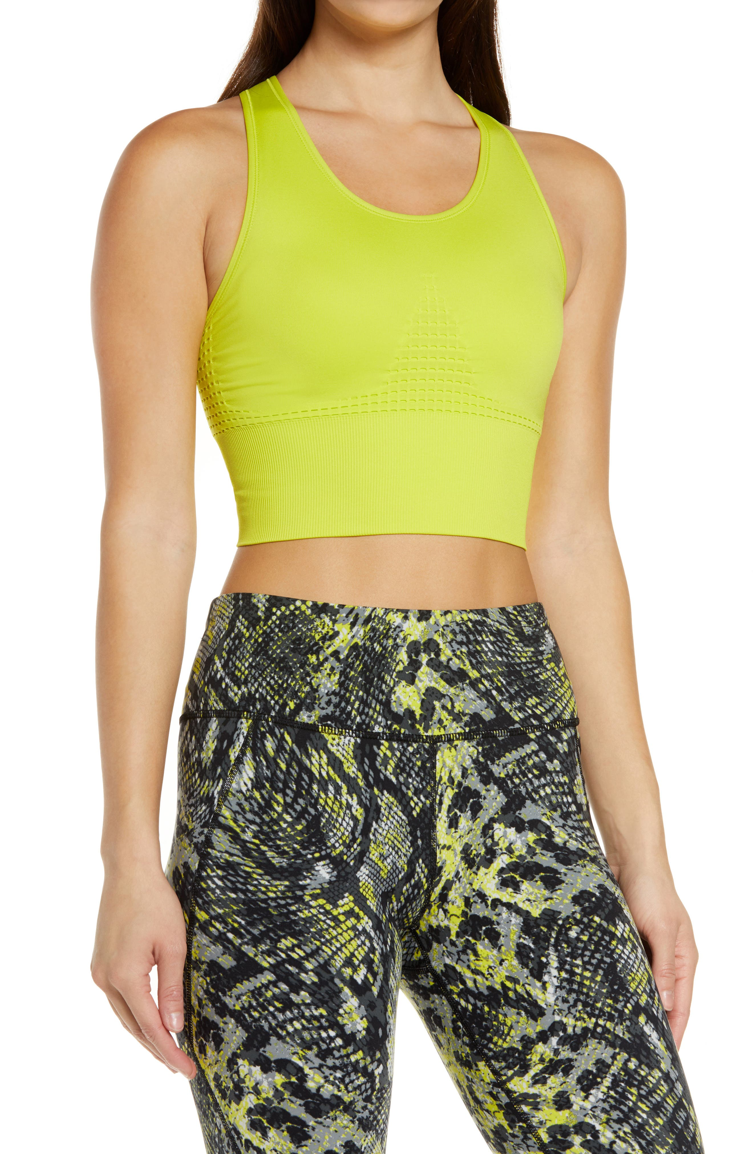 Head to your favorite exercise class in the seamless comfort of a breathable, sweat-wicking bra that supports up to a C-cup with compression construction. Wide straps and the long, ribbed band won\\\'t dig, and racerback styling enhances your range of motion. Style Name: Sweaty Betty Stamina Longline Sports Bra. Style Number: 6042264. Available in stores.