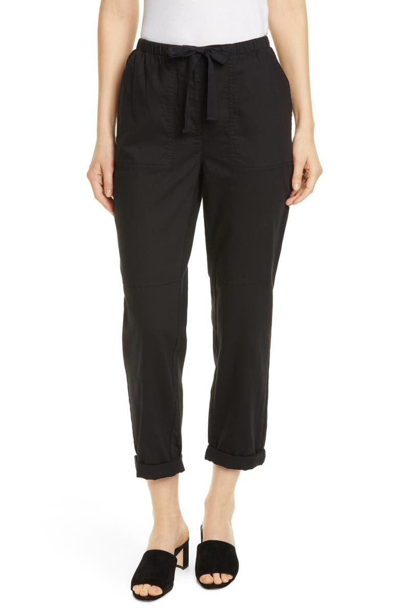 EILEEN FISHER Organic Cotton Ankle Pants, Main, color, BLACK