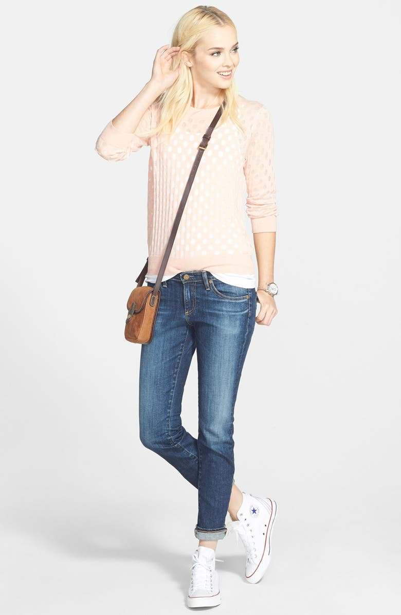HINGE <sup>®</sup> Burnout Damask Sweater, Main, color, 440