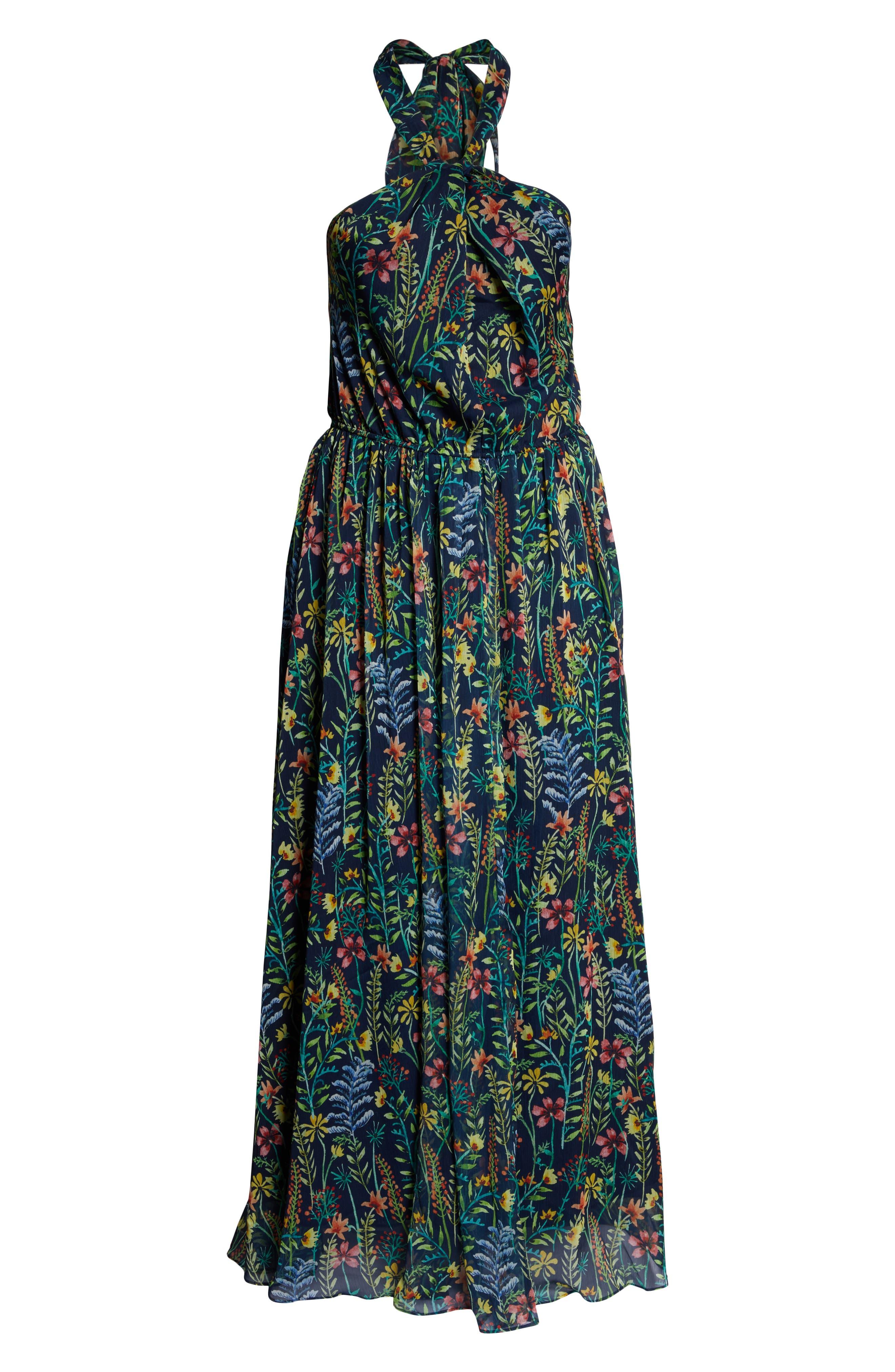 ,                             Jason Wu x ELOQUII Floral Print Halter Maxi Dress,                             Alternate thumbnail 7, color,                             SO LITTLE THYME - NAVY GROUND