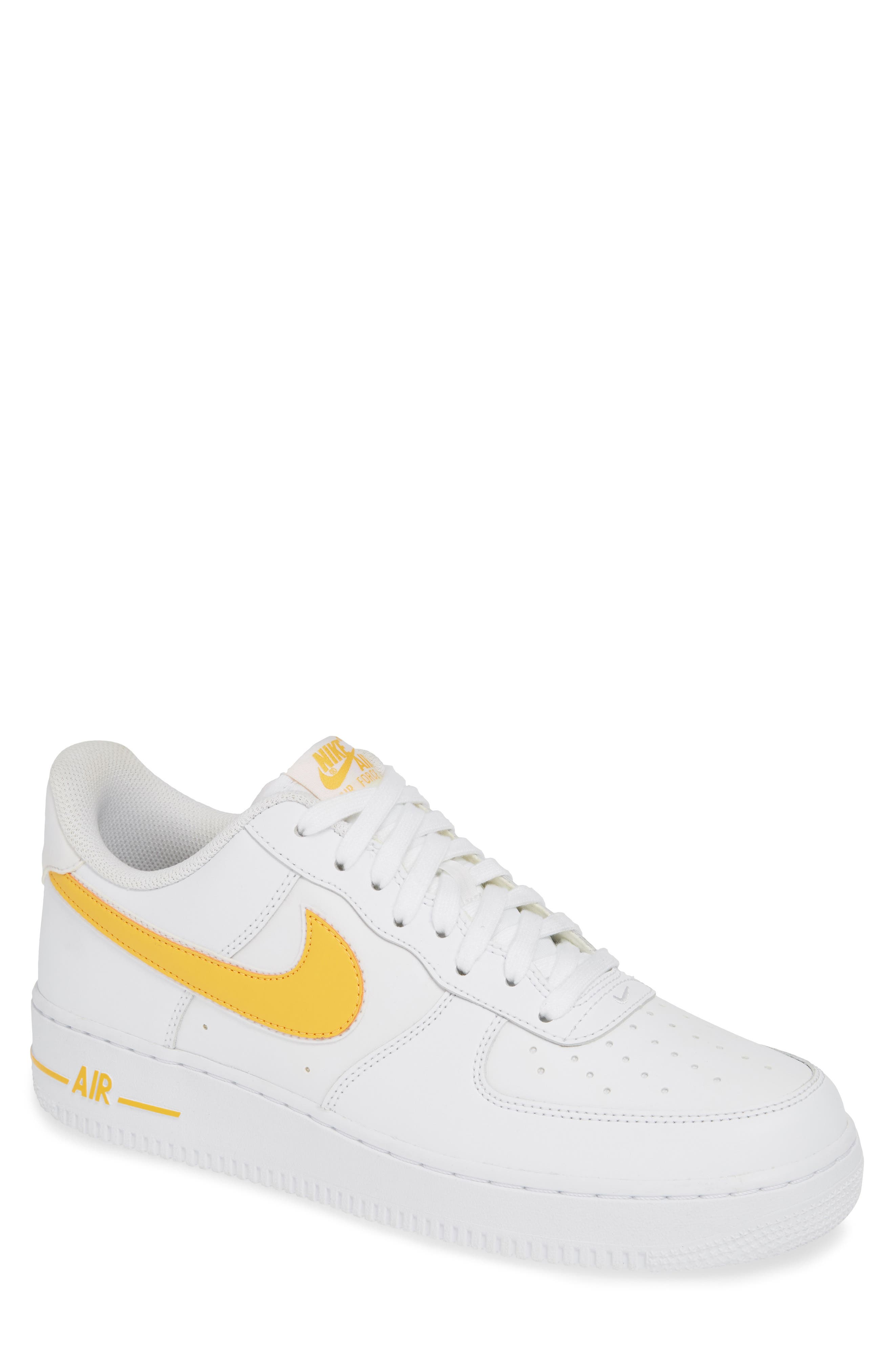 ,                             Air Force 1 '07 3 Sneaker,                             Main thumbnail 1, color,                             WHITE/ UNIVERSITY GOLD