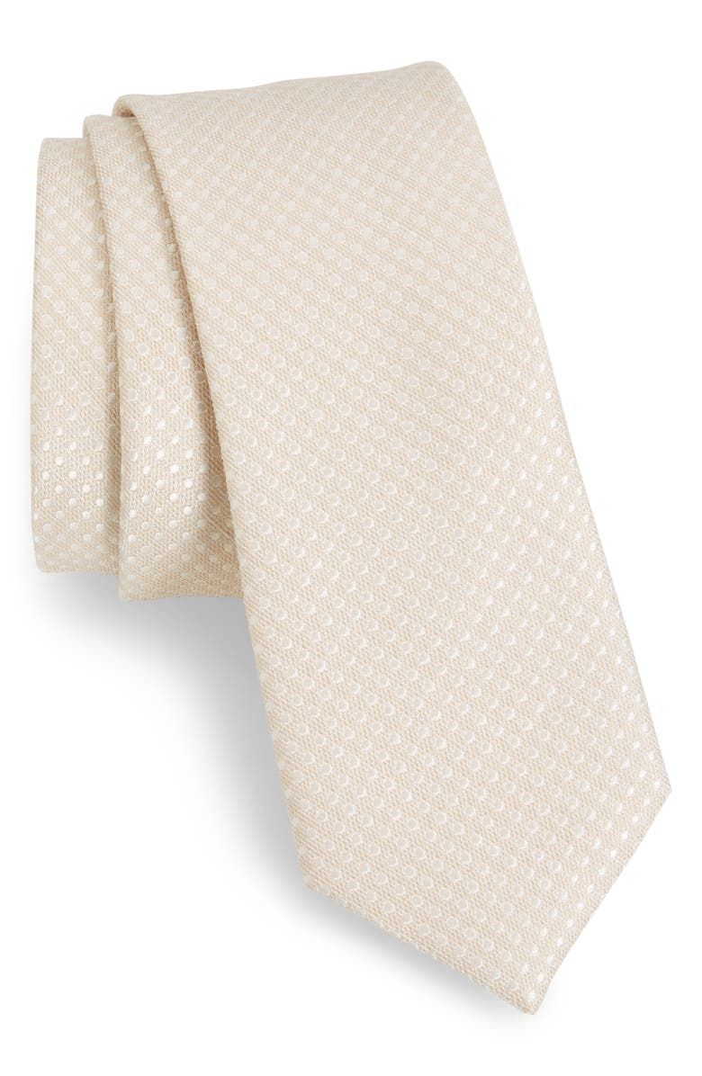 THE TIE BAR Spin Dot Silk & Cotton Tie, Main, color, LIGHT CHAMPAGNE