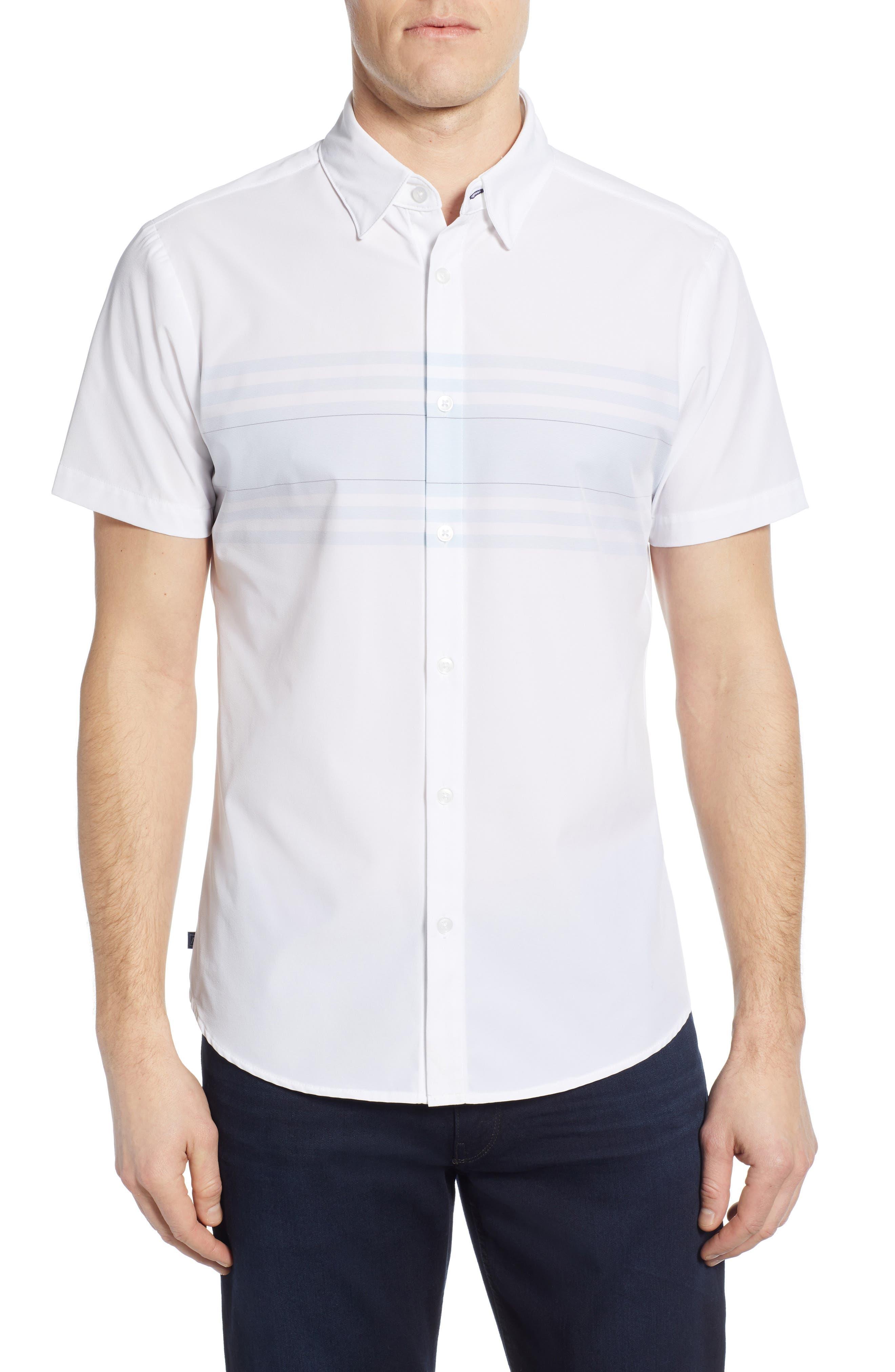 ,                             Weiss Trim Fit Stripe Sport Shirt,                             Main thumbnail 1, color,                             WHITE