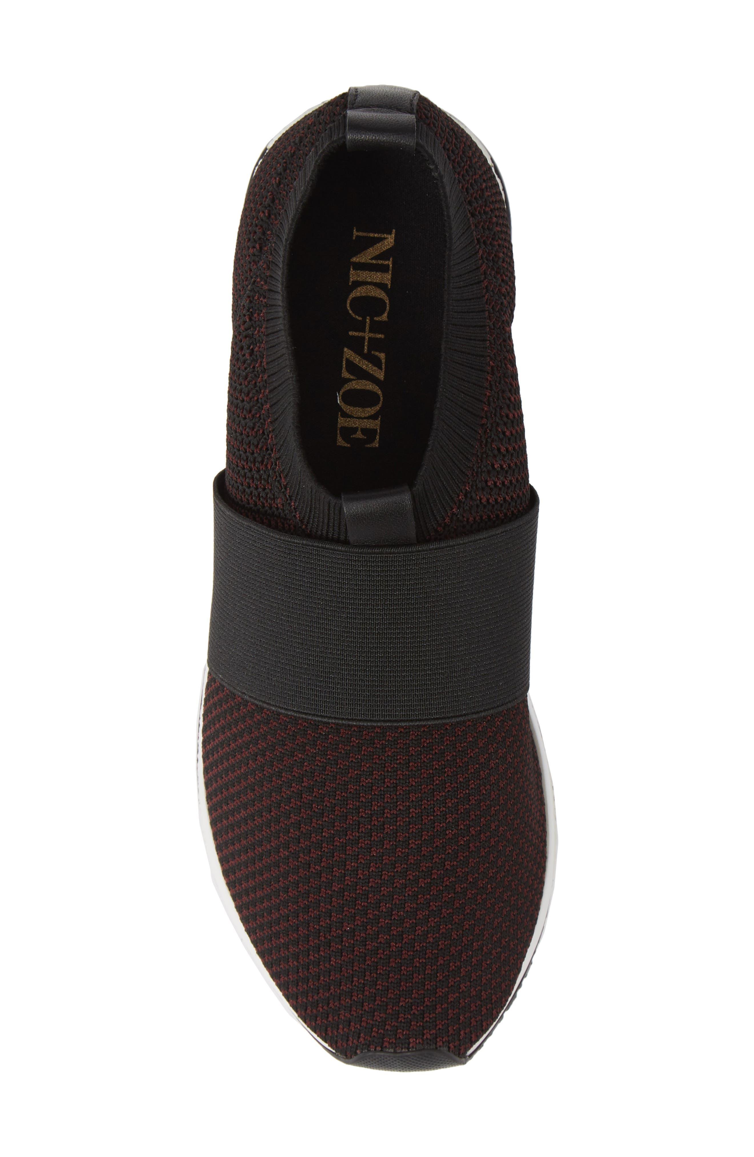 ,                             Brooke Slip-On Sneaker,                             Alternate thumbnail 5, color,                             BLACK/ WINE KNIT FABRIC