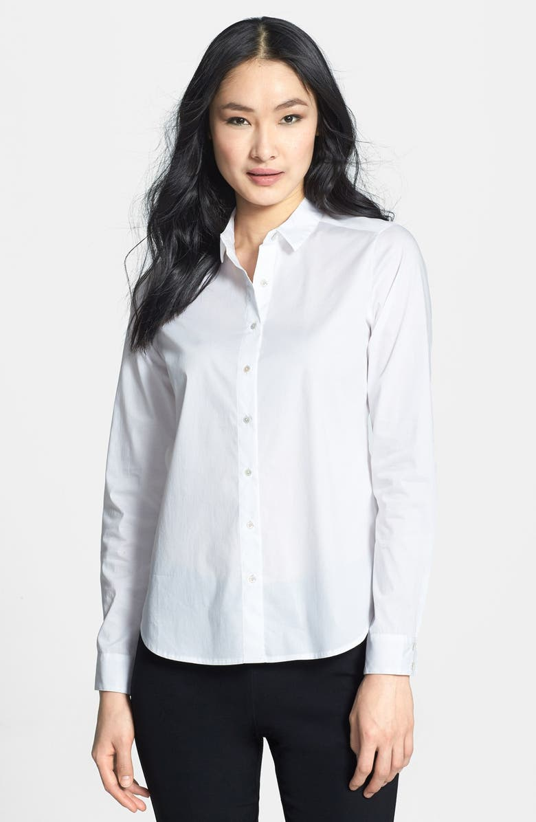 EILEEN FISHER Classic Collar Stretch Organic Cotton Shirt, Main, color, 100